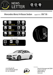 Mercedes A sedan dragkrok för det nye T60 system från GDW W177