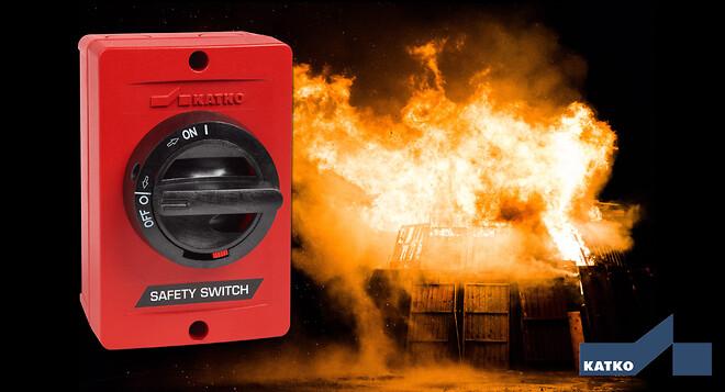 Brandsikker afbryder fra KATKO kan modstå 200 °C i 3 timer og F300, som kan modstå 300 °C i 2 timer