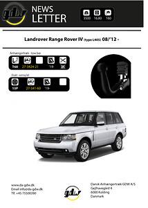Land Rover Range Rover IV skjult aftageligt anhængertræk fra Dansk Anhængertræk GDW
