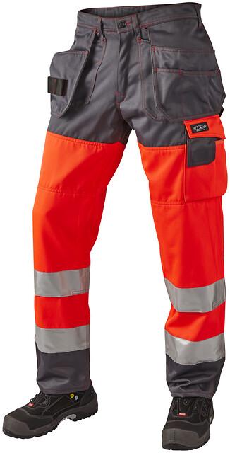 Outlet - arbejdsbukser m. hængelommer, hi-vis, kl. 2, 11106 - rød/grå