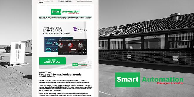 Nyheder fra Smart Automation ApS med fokus på ADISRA dashboards, ny version af EXORs JMobile og TELTONIKA router RUT240 med email to sms funktion