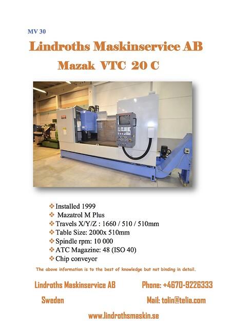 Mazak VTC  20 C 1999