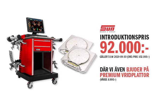 SUN Maskin & Service AB Nyhet Hjulinställare John Bean V1100