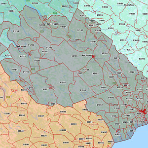 Karta över Vindeln Maskinservice område för Komatsu och BOMAG