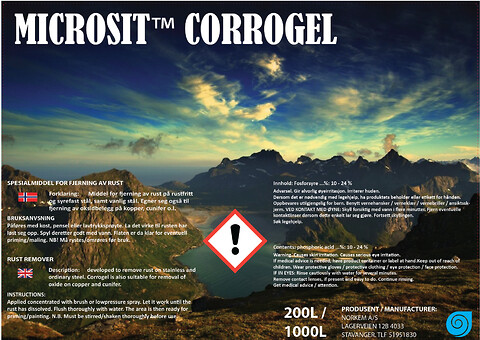 Industriell rustfjerner / Industriell rustløser - Microsit Corrogel fra Norkem - Rustløser, corrosion, antirust, rustbehandling, offshore, industriell rustfjerner, industriell rustløser