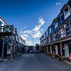 Moderne skurby på byggepladsen knyttet til opførelsen af Niels Bohr Bygningen på Nørrebro i København.