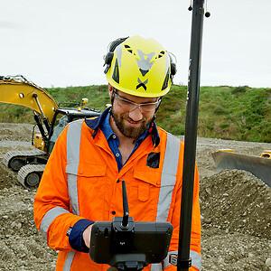 volumenmålinger, tiltkompensation, GNSS, opmåling, Trimble, siteworks