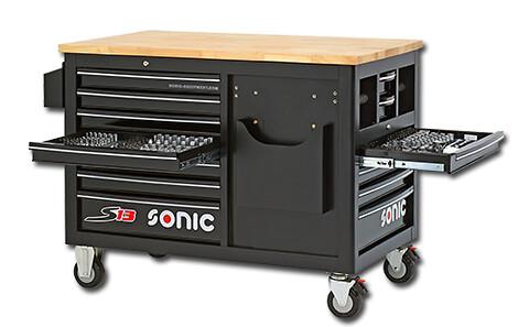 SONIC værkstedsvogn S13 træ-topplade og 290 stk. værktøj!    - Sonic, værkstedsvogn, S13, trætopplade, værktøj, skuffer, dåseholder, katalogholder, hjul, bremse,