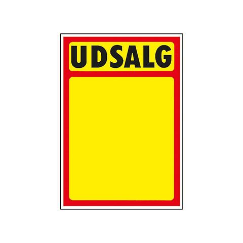 """Skilte """"Udsalg"""" med rød kant A6, 50 stk/pakke"""