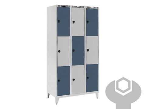 Garderobeskab 4 søjler a 3 bokse m/skråt tag