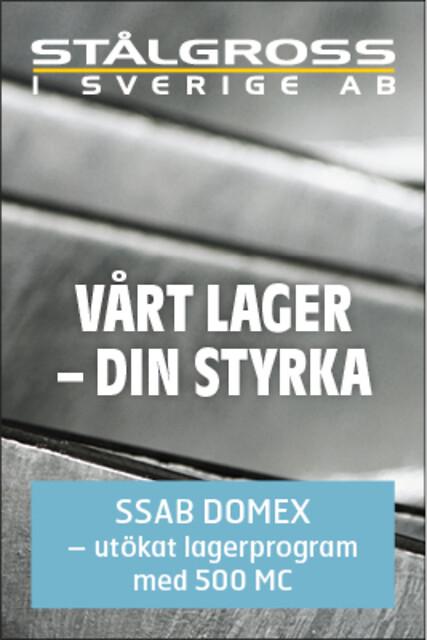 Stålgross lagerför SSAB Domex® 420MC och SSAB Domex® 500MC i betat, anoljat utförande.