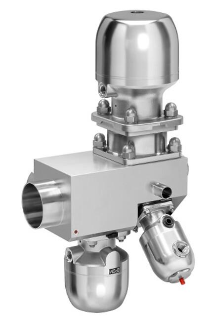 GEMÜ membransædeventiler i flervejs-ventilblokke i rustfrit stål til integrering - Flervejs-ventilblok i specialstål med reguleringsventilen GEMÜ 567 BioStar control og membranventilen GEMÜ 650 BioStar til dosering fra ét sterilt loop og fordeling på flere udtag.