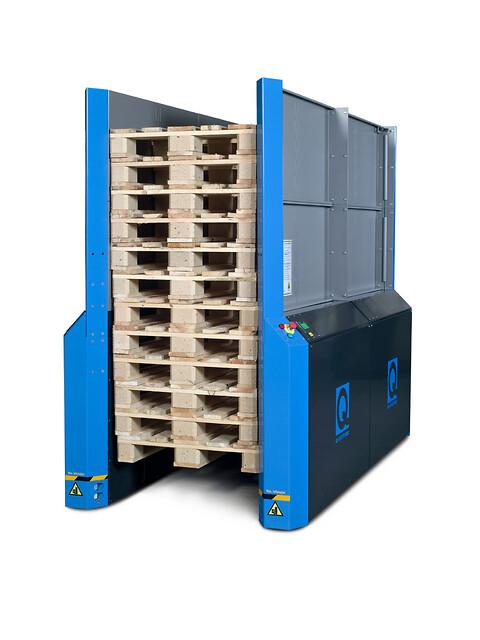 Q-System´s Pallemagasinet PallEvator Q Double, elektrisk stabling/nedstabling af paller