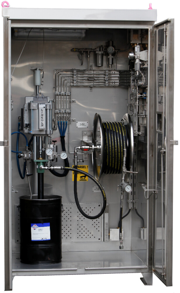 Pump Cabinet NC-2063 is designed for injection of grease into wellhead valves for oil and gas platforms.