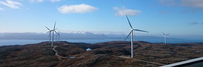 Statskraft vindmøllepark i Hitra (foto: Statskraft).