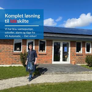 Komplet løsning til Idéskilte i Horsens med solceller, varmepumpe, alarm og tåge.