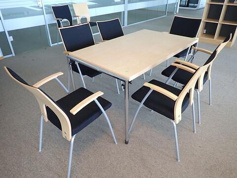 7 stk. konferencestole kinnarps yin 237 sort med mødebord