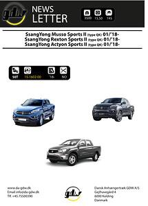 SsangYong Musso Sports II Fast anhængertræk fast SsangYong Musso Sports II (type QK) 01/'18-\nNO\nSsangYong Rexton Sports II (type QK) 01/'18-\nSsangYong Actyon Sports II (type QK) 01/'18-\n