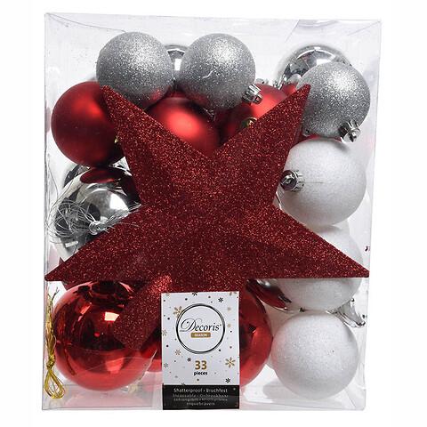 Julekugle mix m stjerne, rød, sølv, hvid, 33 kugler