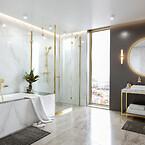 hansgrohe badeværelse i poleret guld-optik