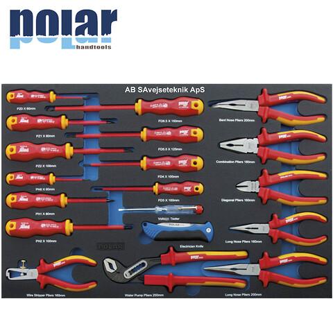 EASY Sæt med 1000V skruetrækkere, tænger og elektriker kniv i plastboks 19 dele.