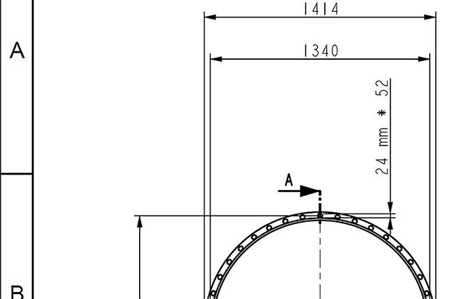 Stor kammprofil pakning til varmeveksler - udsnit af 2D tegning