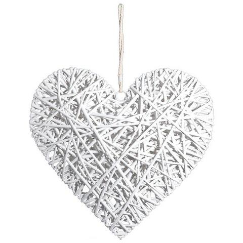 Flettet hjerte m snor, hvid, 60cm