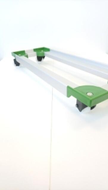Traller 805x275 mm m/4 plastdrejgf, ø70 nyl. hjul-grøn