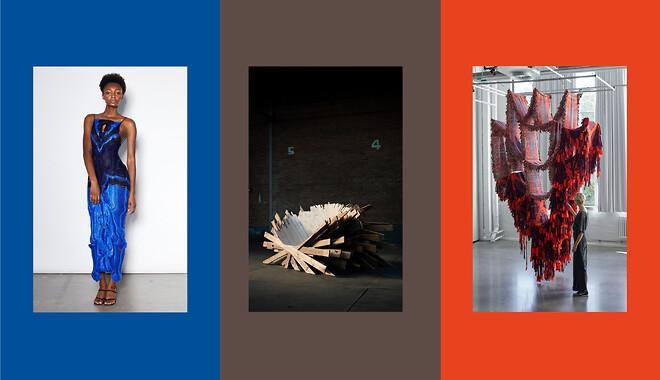 "Verk i bild: Emma K Gudmundson \""Floats\"", Anton Brunberg \""Pallet Thief\"", Mirjam Hemström \""The Metamorphosis of Weaving\"""