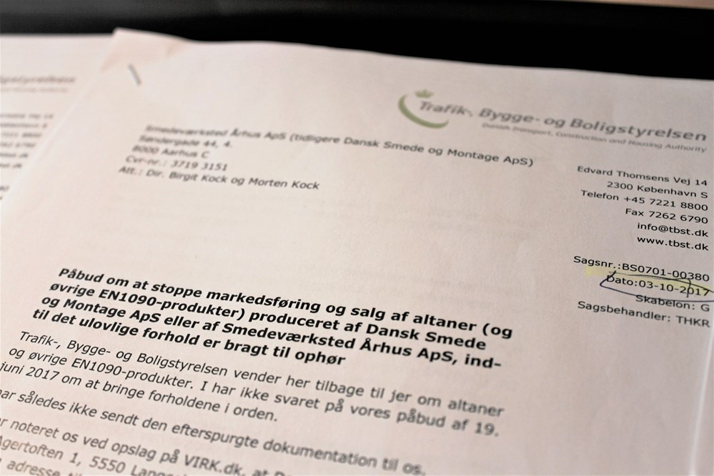 18 altaner solgt med ugyldigt CE- mærke - Jern & Maskinindustrien