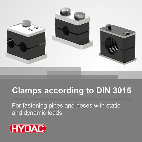 Hydac's smarte løsninger for festing av rør og slanger med statisk og dynamisk belastning. - klammer, DIN3015