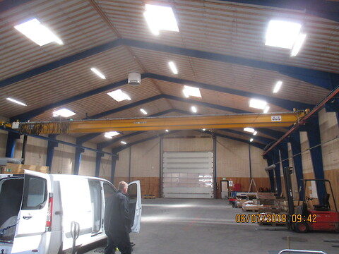 Brugt verlinde traverskran 5 ton x 18/19 mtr spænd sælges fra stålspecialisten