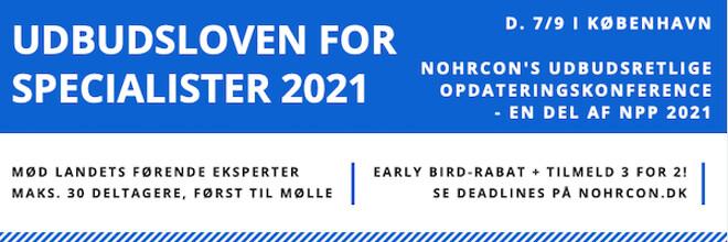 Udbudsloven for specialitser 2021 - Nohrcon udbudskonference