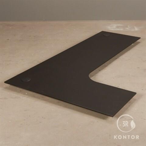 Bordplade i sort nano laminat, venstrebue. 200 x 120/60