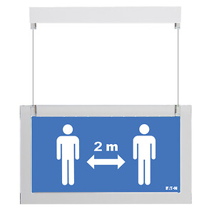 Social Distance Sign - monteret med wire
