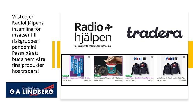 G A Lindberg stödjer Radiohjälpens insamling hos tradera