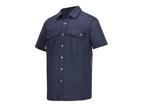 Skjorte m/kort ærme rip-stop navy - str. l