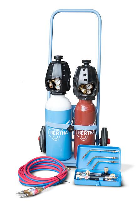 Mini Bertha svejse- og skæresæt, Strandmøllen A/S - Mini Bertha svejse- og skæresæt, autogensvejsning, hærdning, opvarmning, flammerensning