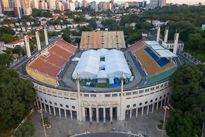 Sportanläggning blir fältsjukhus i Brasilien