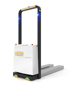 Nipper AGV for palleransport med henting og levering på gulv.