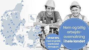 Nem og billig arbejdsovernatning i hele landet - SPAR 10%