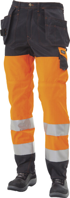 Arbejdsbukser, hi-vis, kl. 2, 11100 - orange/marine