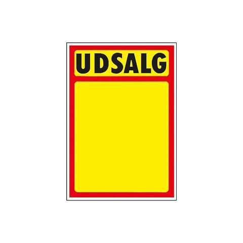"""Skilte """"Udsalg"""" med rød kant A7, 50 stk/pakke"""