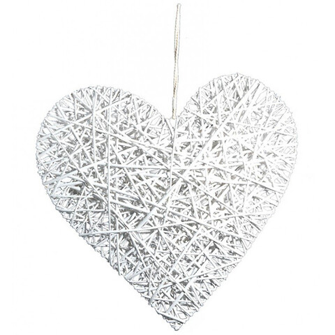 Flettet hjerte m snor, hvid, 80cm