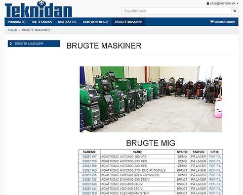 BRUGTE SVEJSEMASKINER og andet udstyr til metalforarbejdning - hos TEKNIDAN