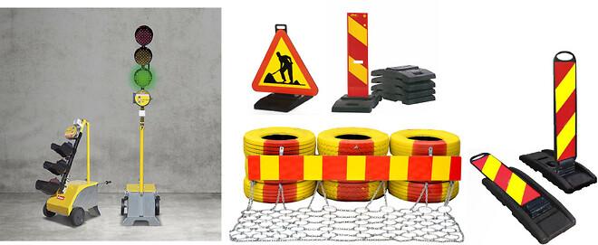 Trafiksignal Nissen LZA 500 LED;  Vikbar markeringsskärm;  Trafikbuffert; Gummifotsskylt ;  Sidomarkeringsskärm X3; avstängningsmaterial
