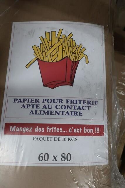 40 kg. papir til pomfritter - 60 x 80 cm.