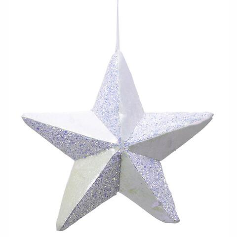 Stjerne i hård skum m ophæng, hvid, 22x22cm