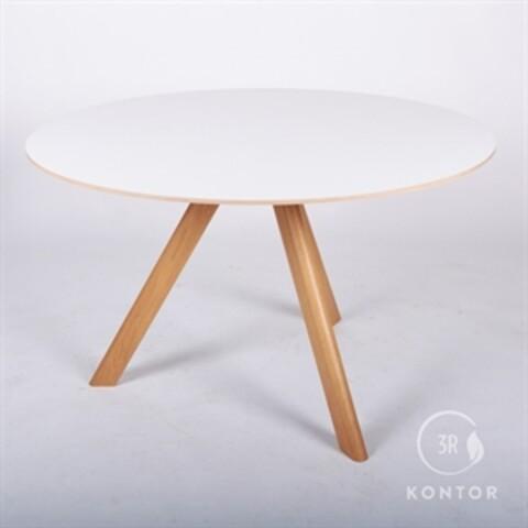 Cafébord, hvid med massive egeben. Ø120