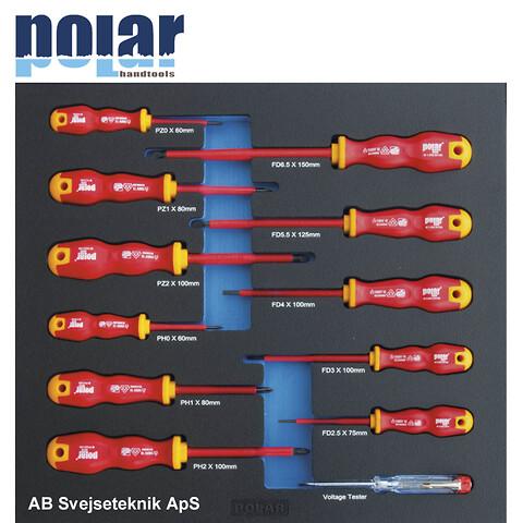 EASY Sæt med 1000V skruetrækkere for kærv, Phillips®, Pozidriv®, spændingsprøver i plastboks med sku
